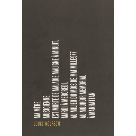 Ma mère, musicienne, est morte de maladie maligne à minuit... WOLSFON Louis Attila 9782917084472 Book